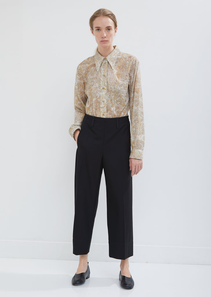 Cropped Wool Elasticated Pants