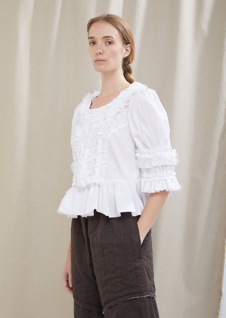Cotton Broad Ruffle Top