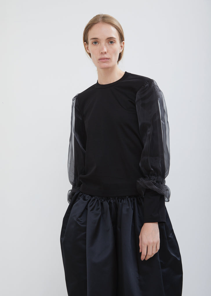 Ponte and Organdy Long Sleeve Top