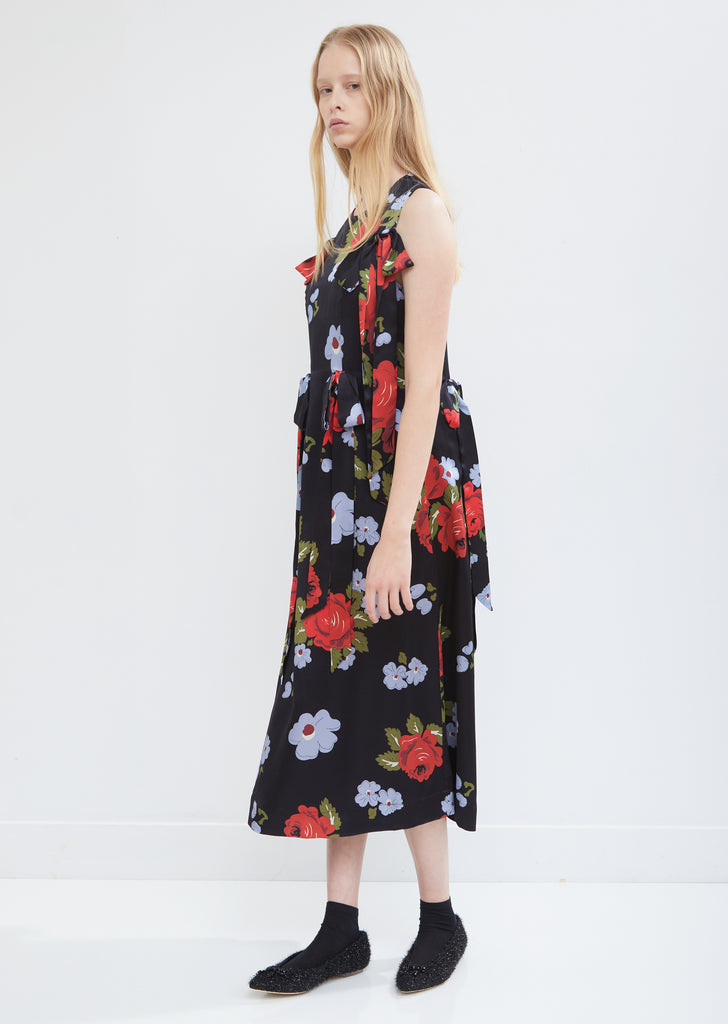 Bow Silk Shift Dress