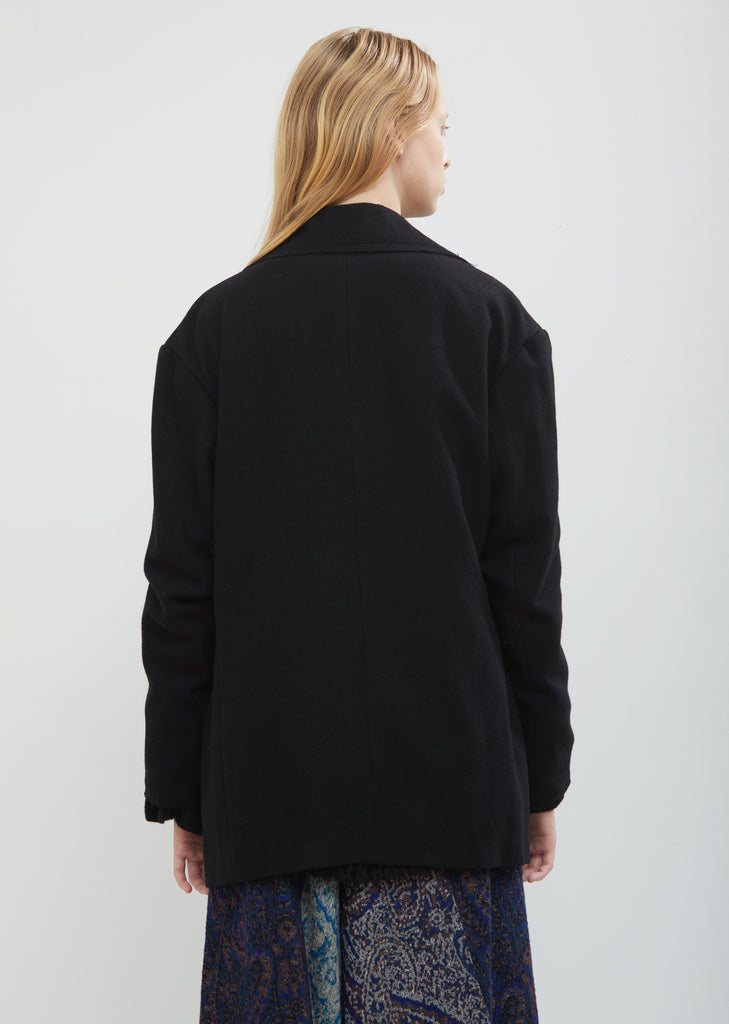 Raw Collar Wool Blazer