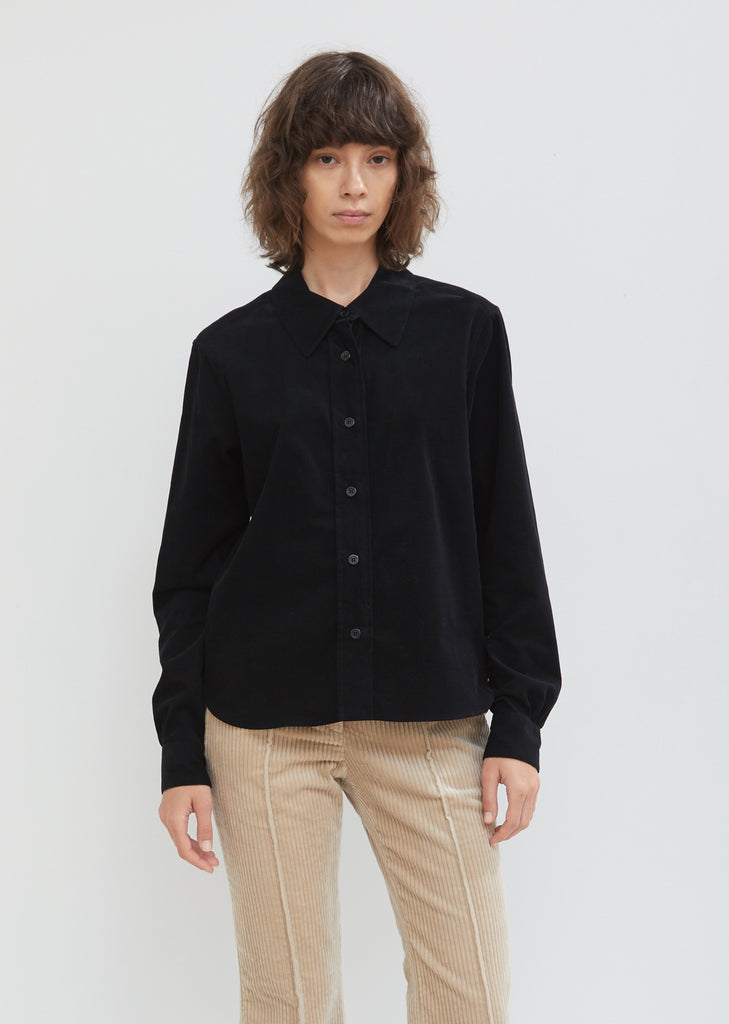 Cotton Needlecord Gathered Sleeve Shirt
