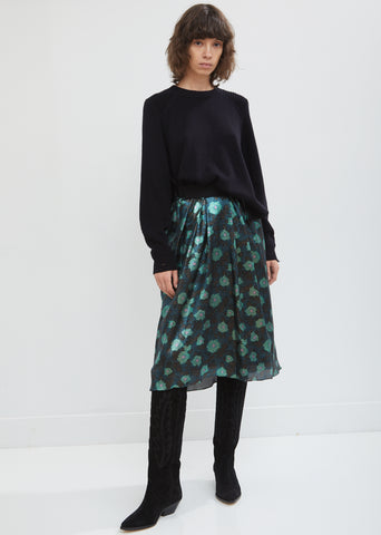 Prehnite Printed Silk Skirt