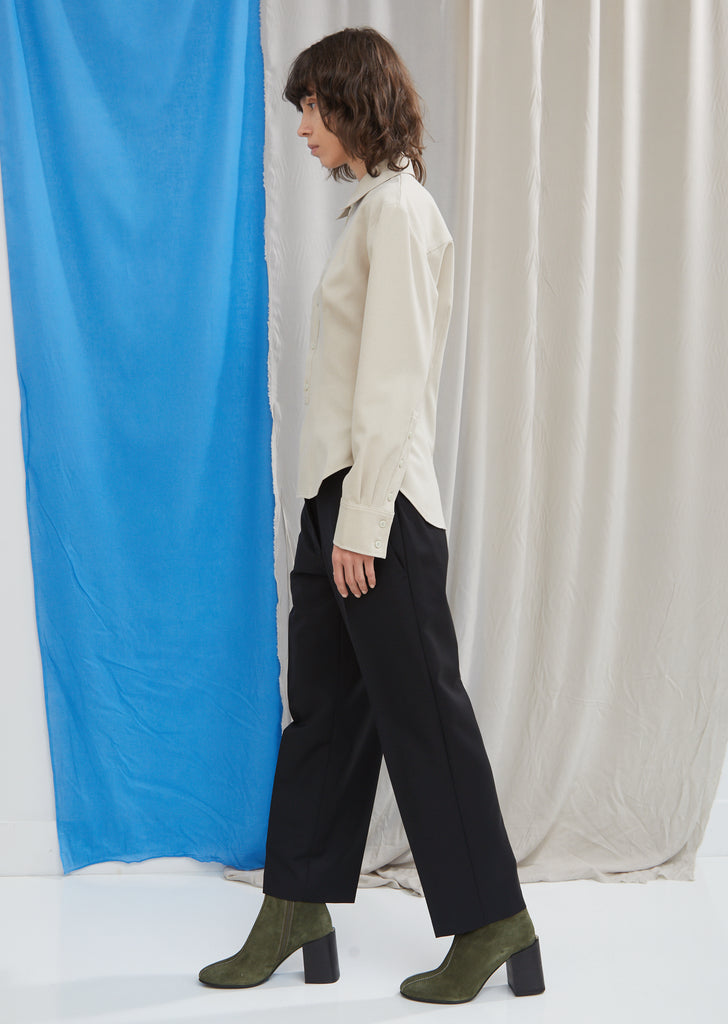 Wool Mohair Cropped Trousers