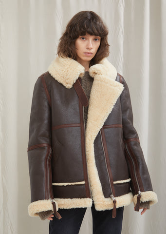 Leather and Shearling Velocité Jacket