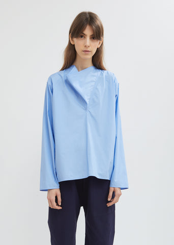Blix Draped Poplin Long Sleeve Top