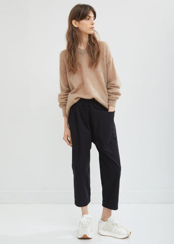 Punch Drawstring Cropped Cotton Pants