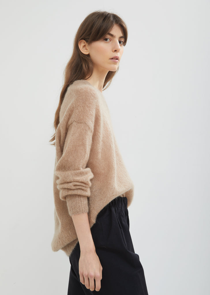 Oversized V-Neck Brushed Mohair Sweater