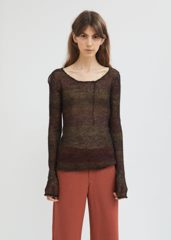 Stripe Mohair Scoop Neck Sweater