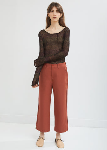 Flared Leg Cropped Trousers