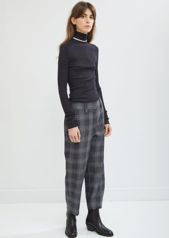 Flannel Check Cropped Trousers