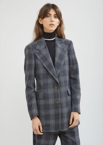 Wool Cotton Check Blazer