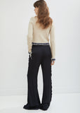 Long Fluid Trousers With Scalloped Seams