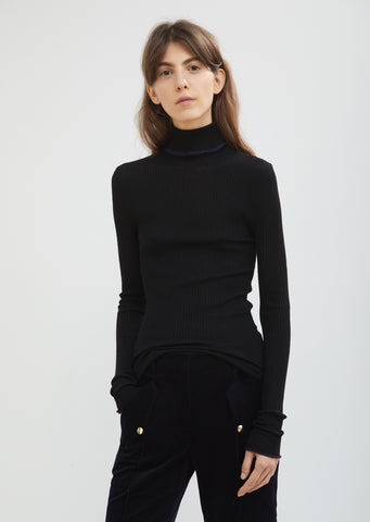 Fitted Turtleneck Trim Sweater
