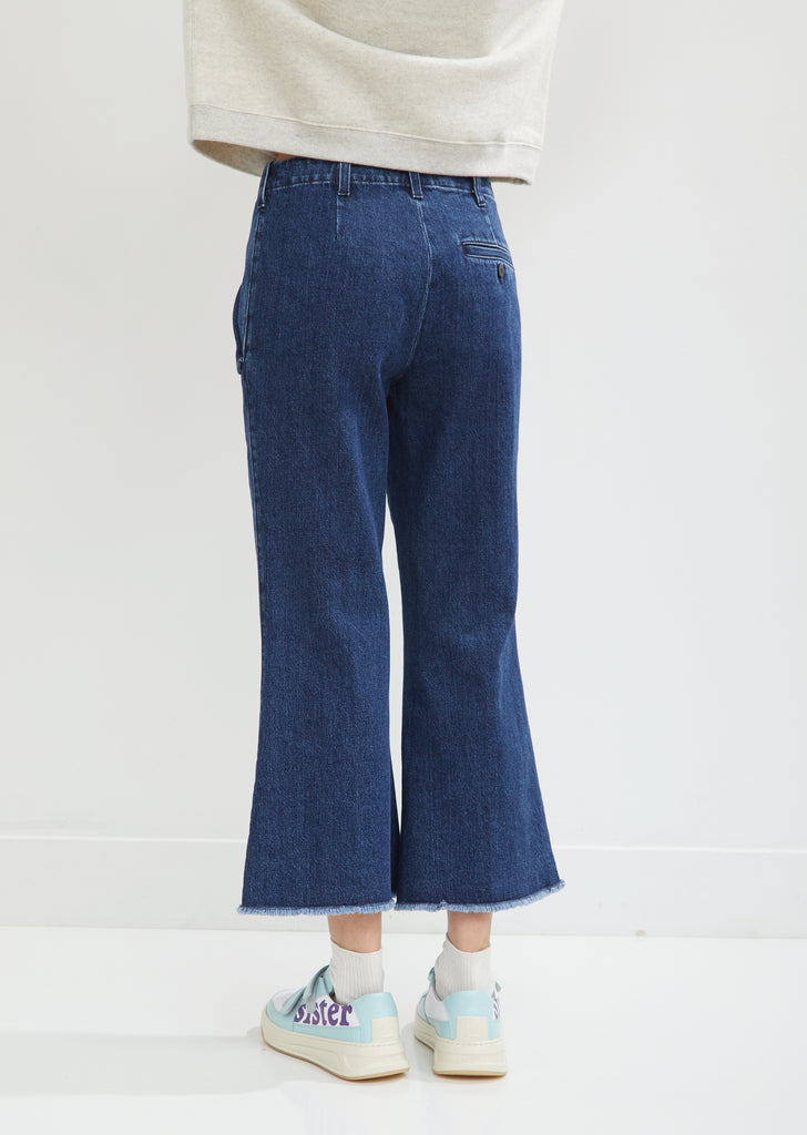 Flared Leg Denim Trousers