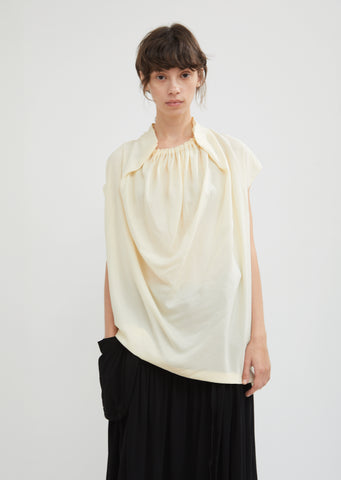 Ruched Neck Silk Shell Top
