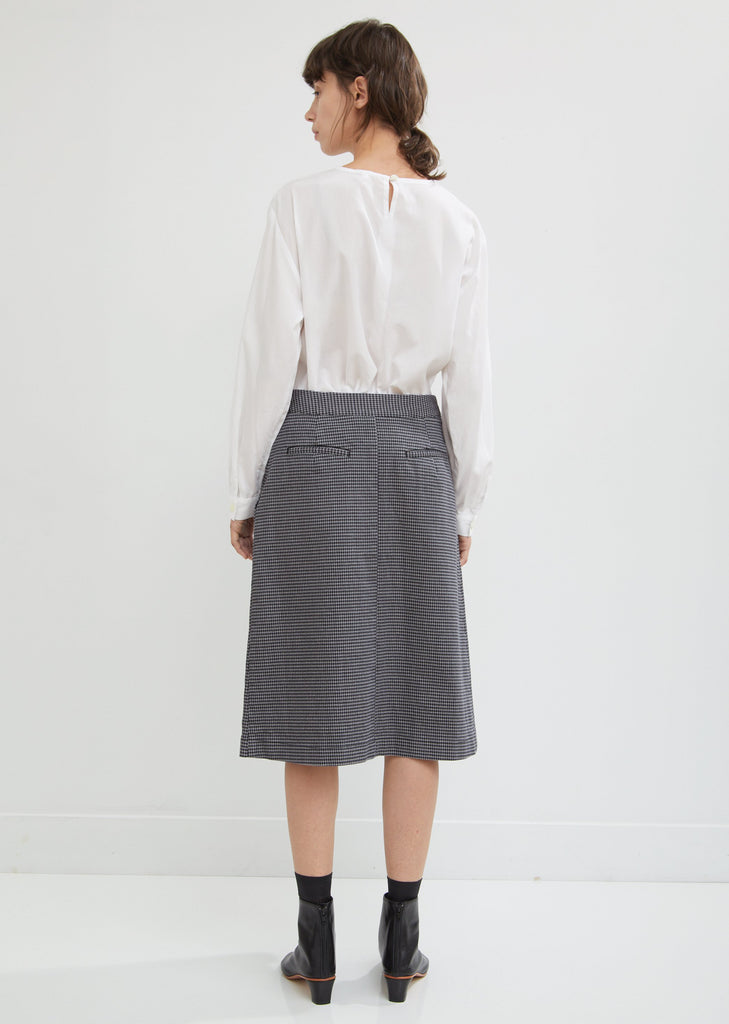Stretch Denim Houndstooth Pleated Skirt
