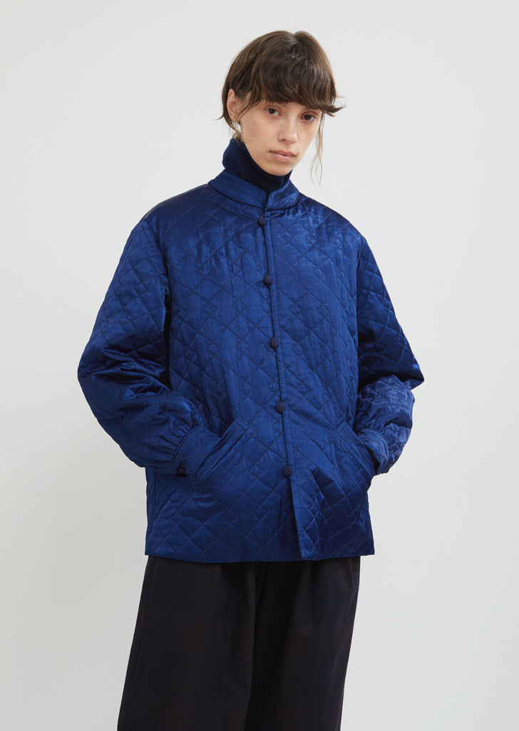 Quilted Satin Stand Collar Jacket