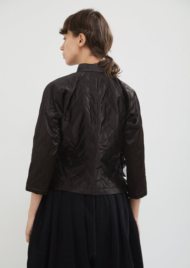 Quilted Satin Shirt Jacket