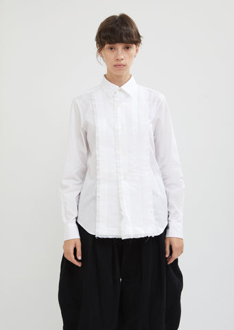 Cotton Broad Button Front Top With Ruffles