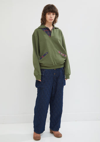 Indigo-Dyed Quilted Cotton Cargo Pants
