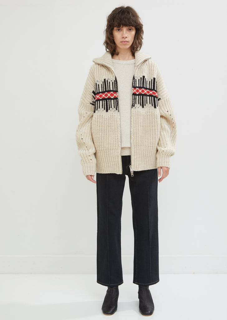 Charming Zip-Up Wool Mohair Cardigan