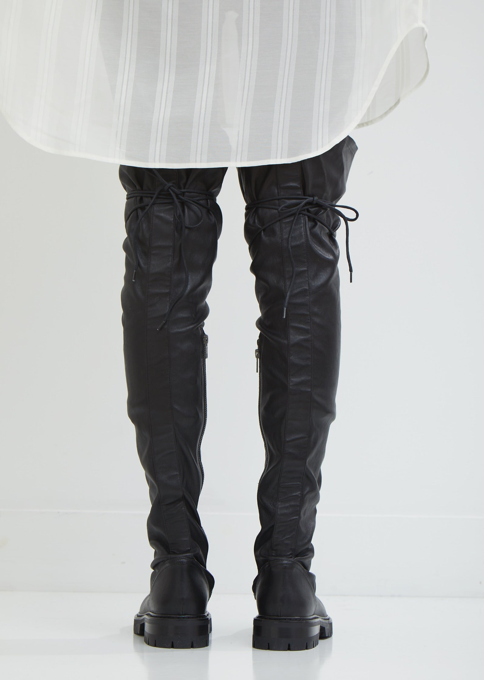 Stretch Leather Lace-Up Boots