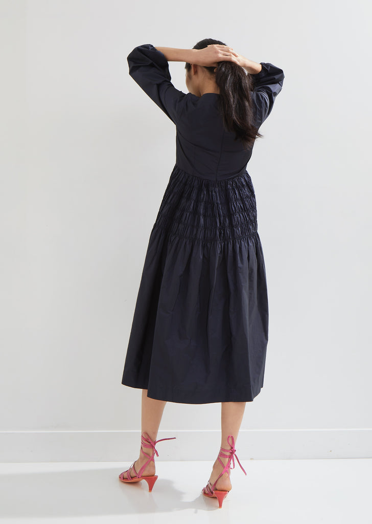 Edie Shirred Taffeta Dress