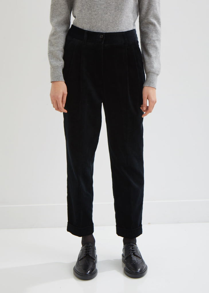 Pleat Pocket Corduroy Trousers