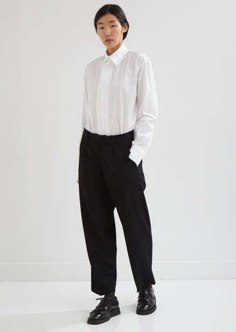 Wide Leg Creased Wool Pants