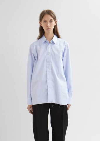 Cotton Button Shirt with Deconstructed Details