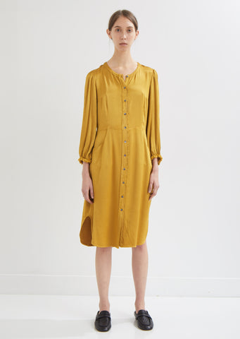 Pebble Satin Puff Sleeve Shirt Dress