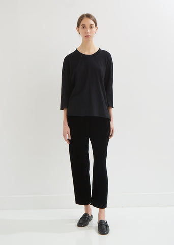 Three-Quarter Sleeve Boxy Cotton Tee