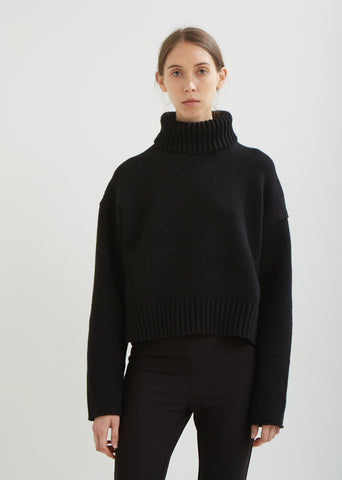 Cotton Cashmere Turtleneck Pullover