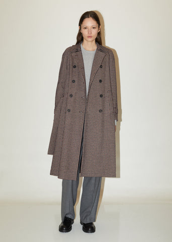 Wool Tattersall Check Raglan Coat