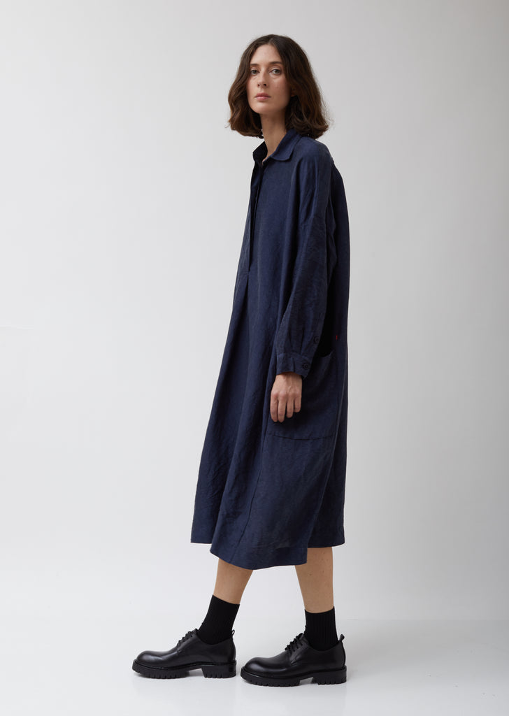 Navy Silk Big T Dress