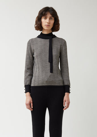 Bow Herringbone Sweater