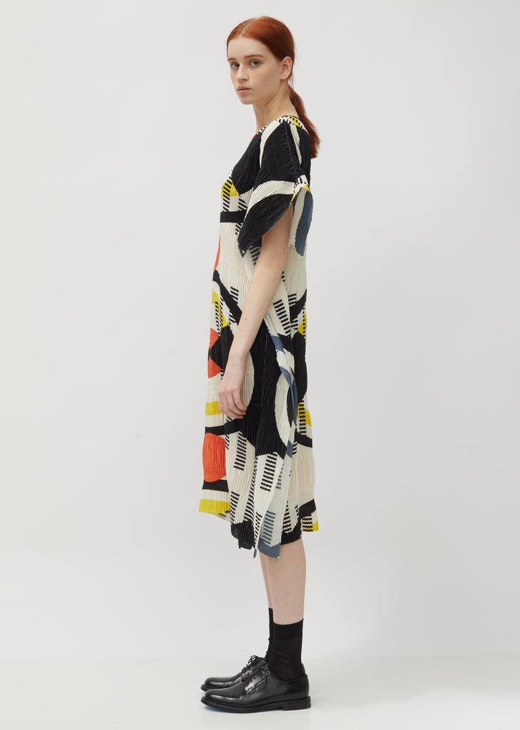 No.3 Printed Pleated Crepe Dress