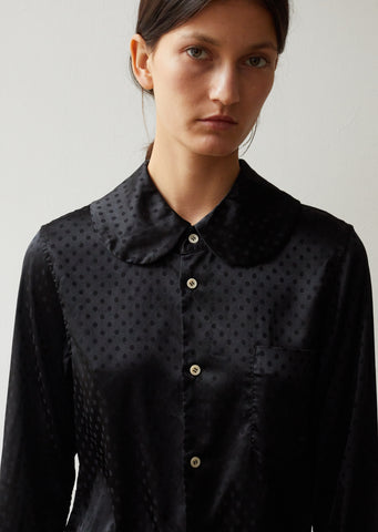 Polyester Satin Jacquard Poka Dots Pattern Garment Treated Shirt