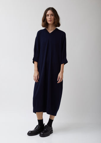 Navy Lambswool Long Dress