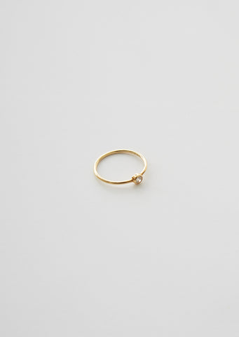 18K Petite Circle Diamond Ring