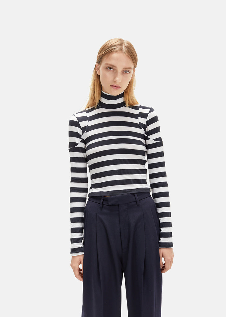 Striped Jersey Turtleneck