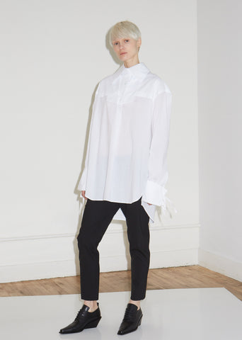 Cotton Poplin Shirt with Ribbon Details
