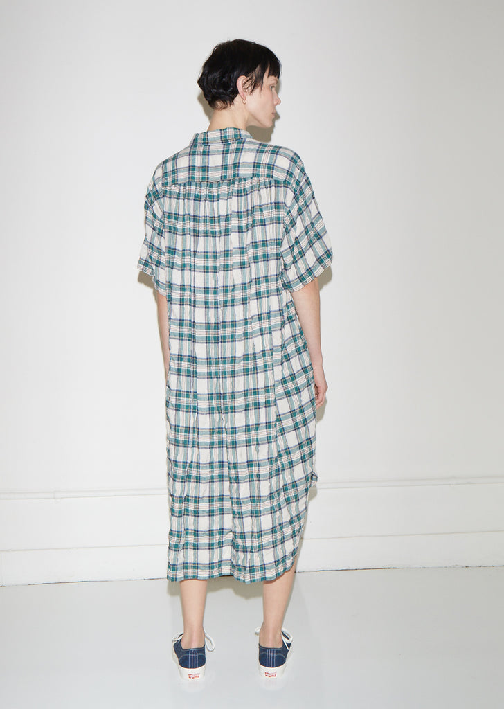 Oversized Plaid Gauze Dress