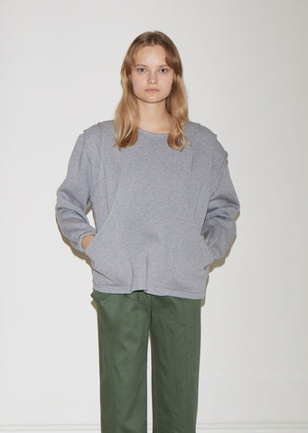 Tiered Cotton Fleece Sweatshirt