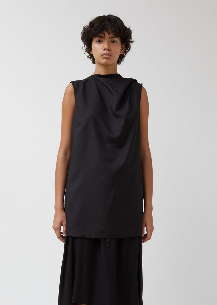 Silk-Wool Blend Sleeveless Top With Neck Scarf