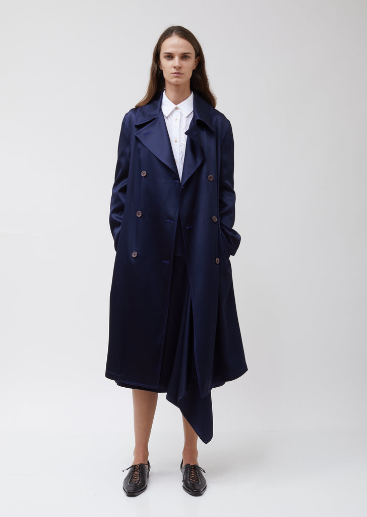 Sigourney Twill Satin DBL Breasted Trench Coat