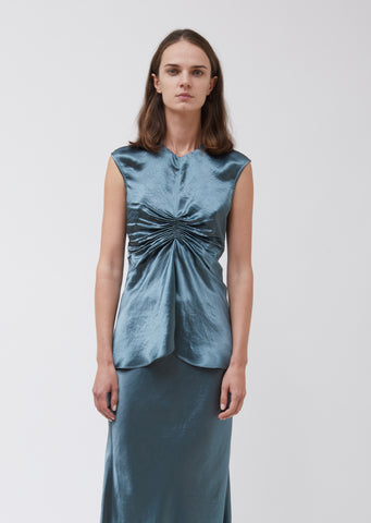 Vienna Fluid Satin Ruched Center Shirt
