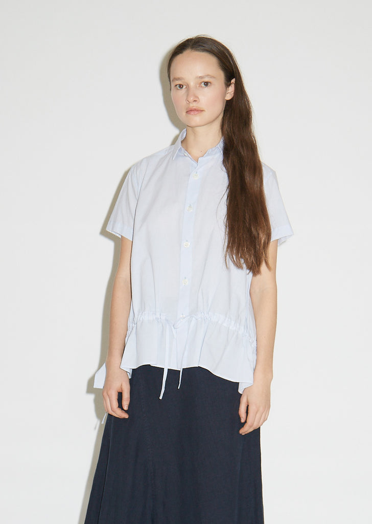 Cotton Gathered Button Front Shirt