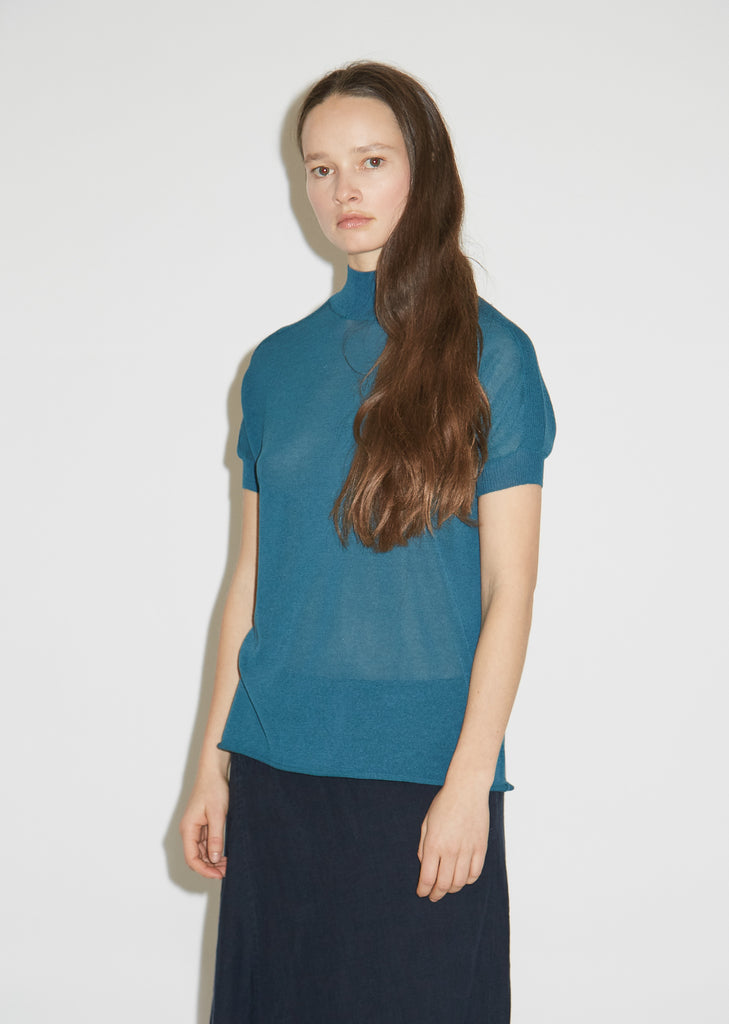 Knitted Panel Highneck Top